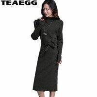 36aa564a3 TEAEGG Elegant Turtleneck Ladies Dresses Large Sizes Winter Dresses Women  2019 Slim Wool Long Sleeve Dress