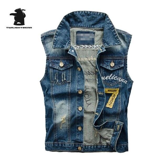 Brand New men's Denim Vest Designer Fashion Embroidery Retro Hole High Quality Plus Size Casual Vest Men M~5XL CC4E3860
