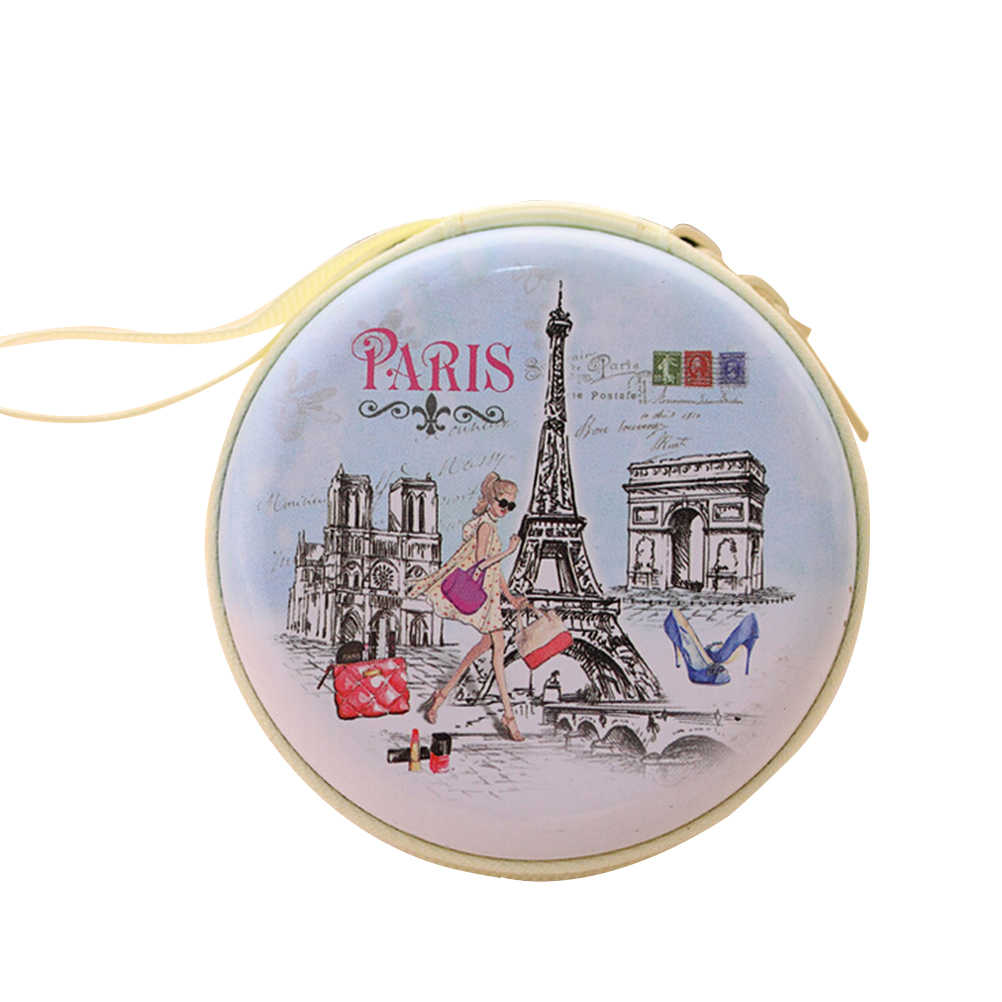 Velishy 1 Pza caliente Mini monedero Unisex lindo auricular redondo París Eiffel cremallera monedero mujer llave MIni cartera bolsa nueva