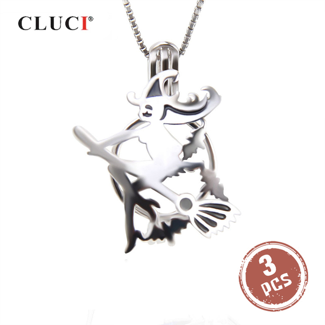 CLUCI 3 adet cadılar bayramı 925 ayar gümüş uçan süpürge cadı kafes kolye kadınlar için takı gerçek gümüş 925 inci madalyon SC322SB