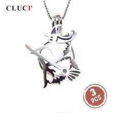 CLUCI 3 sztuk Halloween 925 srebro latające miotła czarownica wisiorek klatka dla kobiet biżuteria prawdziwe srebro 925 Pearl medalion SC322SB