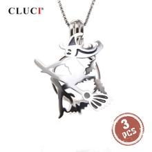 CLUCI 3 uds de Halloween de Plata de Ley 925 de vuelo de la escoba de la bruja jaula colgante para las mujeres joyería de plata 925 relicario de perlas SC322SB