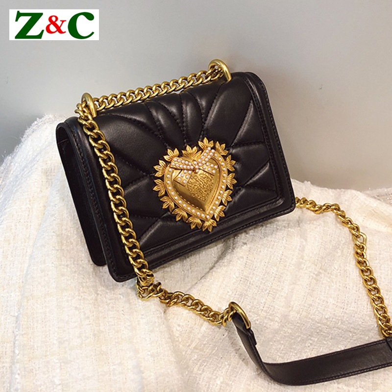 Ladies Metal Love Heart Pattern Chain Shoulder Crossbody Bags High Quality Women Leather Handbags Clutch Evening