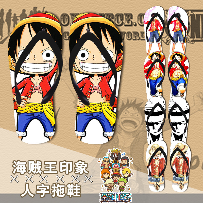 One Piece Luffy flip-flops shoes Cosplay Roronoa Zoro slippers Non-slip summer Japan Cartoon men women Sanji beach shoes