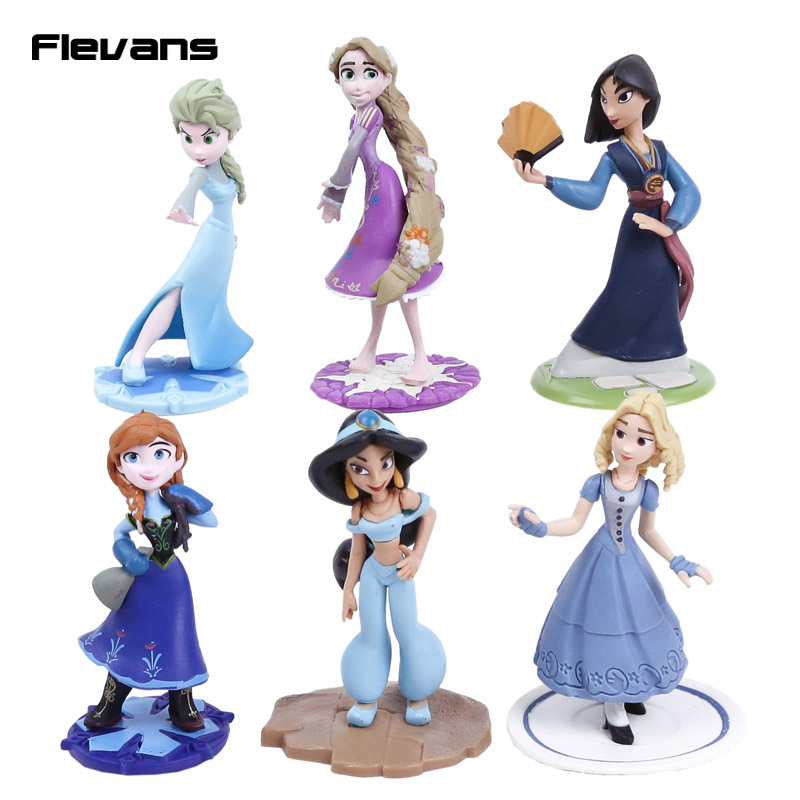 Queen Elsa Princess Anna Mulan Jasmine Rapunzel PVC Figures Dolls Girls Toys Gifts 6pcs/set 10cm россия 5в361 1 сумка 18х24х8см м39785