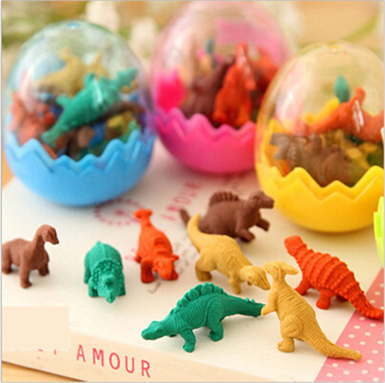 800 PCS Cartoon Eraser Dinosaur Shape Eraser Fashion Gift Stationery 1 Set =1 Egg=8pcs Mini Dinosaur Shape Eraser