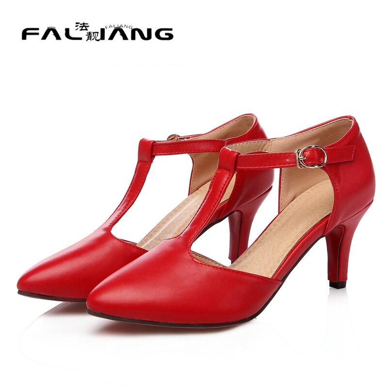 ФОТО 2017 women Pumps Summer style fashion high heel pumps pu leather women high heels poined toe T-strap shoes woman