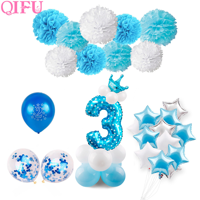 QIFU 3rd Birthday 3 Years Old Blue Boy Number Balloons Foil Helium Decoration Party