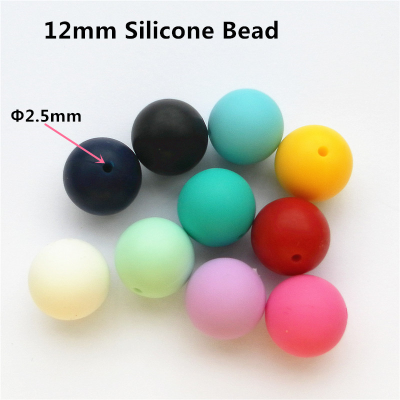 Chenkai 100pcs 12mm BPA Free Silicone Baby Pacifier Teether Beads DIY Soother Bracelets Chewing Jewelry Accessories