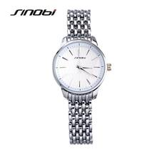 SINOBI Reloj de Plata de Lujo de Las Mujeres Relojes Señoras Reloj de Hora Del Reloj de Acero Completo relojes mujer relogio feminino montre femme 2016