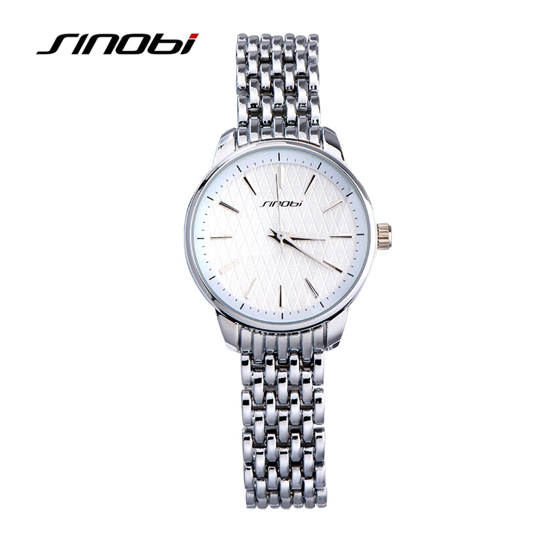 Prix pour Sinobi de luxe argent montre femmes montres bracelet en acier inoxydable montres de femmes montres horloge femmes saat montre femme reloj mujer