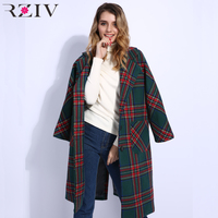 RZIV Winter long coat Women casual plaid coat pocket decoration loose oversized coat