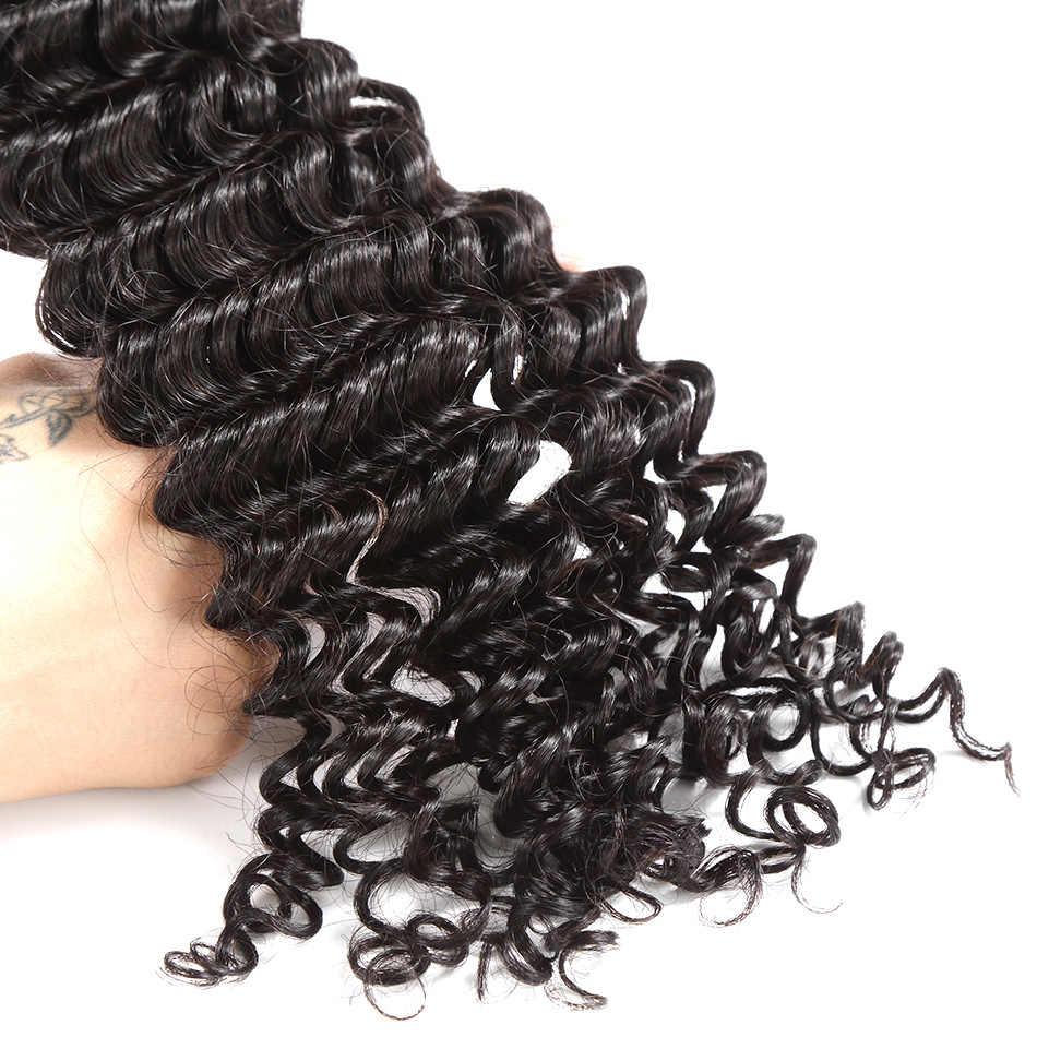 """ILARIA SAÇ Vizon Brezilyalı Bakire Kıvırcık Saç 2 Demetleri Sınıf 8A Derin Dalga 08 """"-36"""" 100% insan saçı postiş örgü Nakliye Ücretsiz"""