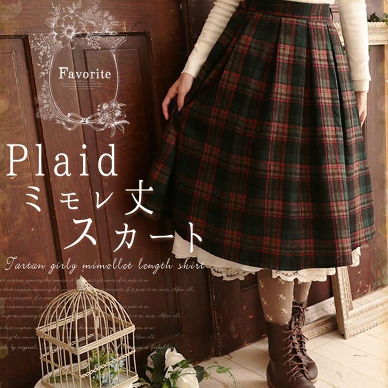 Japanese Mori Girl Spring Vintage Plaid Skirt Women Clothing