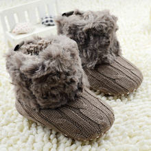 Hot Baby Infants Fashion Crochet Knit Fleece Boots Toddler Girl Boy Wool Snow Crib Shoes Winter warm Booties First Walkers(China)