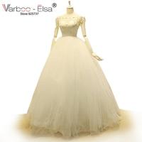 Elegant 2015 Scoop Neck Bridal Gown Long White Lace Wedding Dress Floor Length Crystal Pearl Cap