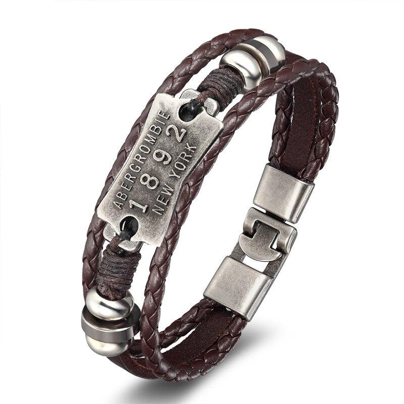 18 New Fashion 3 layer Leather Skull Bracelets&Bangles Handmade Round Rope Turn Buckle Bracelet For Women Men Charm bracelet 14