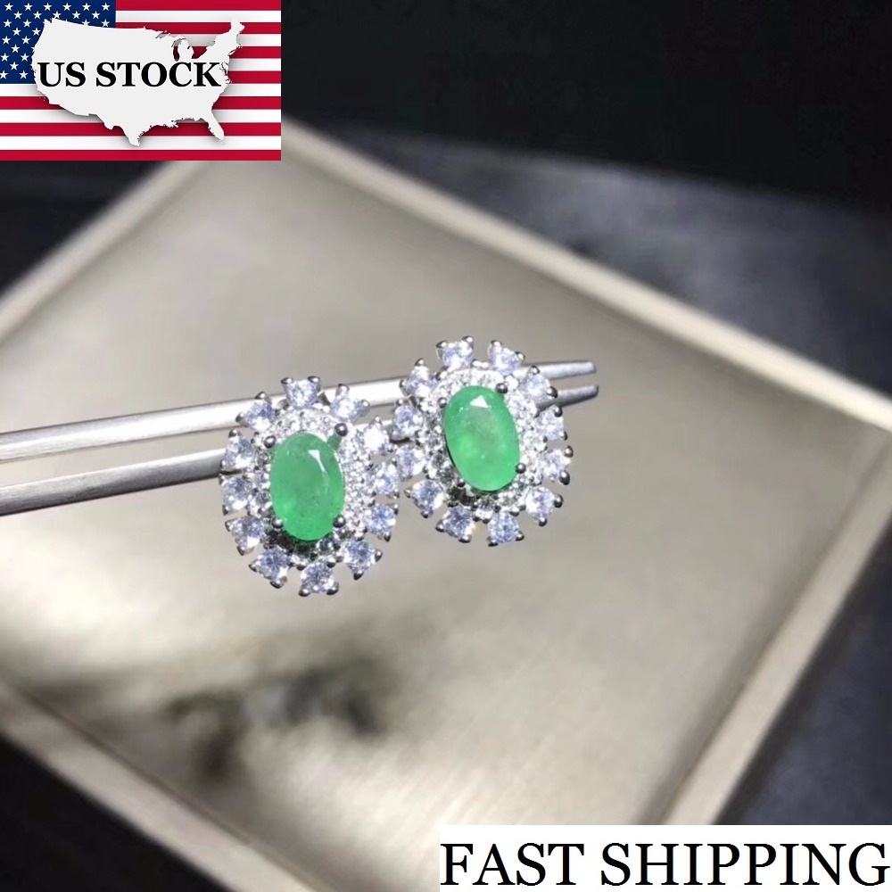 Uloveido Natural Emerald Stud Earrings for Women 925 Sterling Silver 4 6mm 2 Pcs Birthstone Gemstone