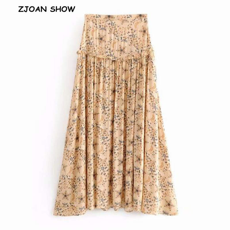 Bohemian Star Floral Print Ruffles Wood Ears Slit Skirt Beige High Waist Floor-Length Maxi Long Swing Skirts Femme 2018 Women
