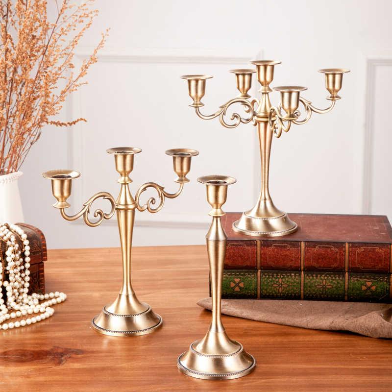 1PC עתיק רטרו זהב פמוטים גבוה ברונזה כסף חג המולד חתונה מנורת קישוטי אירופאי מתכת פמוטים