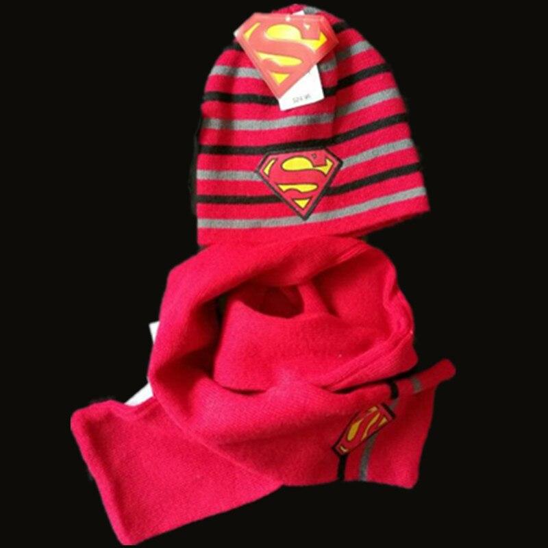 a7dd08e0589 Kids Winter Warm Superman Hat Toddler Infant Girls Boys Hat + scarf Caps  Cute Baby Cartoon-in Scarf