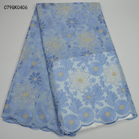 Hot Sale African Swiss Voile Lace In Switzerland Most Popular High Class Blue African Cotton Lace