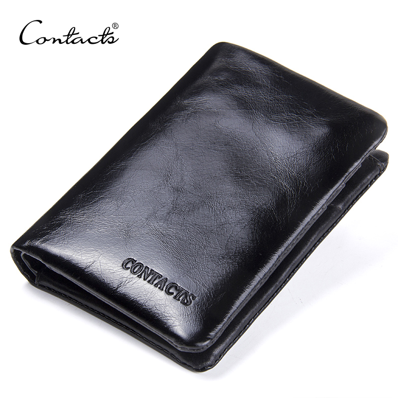 CONTACT'S Genuine Leather Oil Wax Men's Wallet Black Short Wallets For Men Portomonee Male Card Holder Carteira Masculina Walet