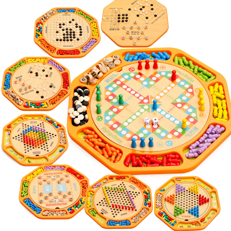 12 in 1 multifunctional Wooden Chess Game Toy Chinese Checkers Animal Checker TIC-TAC-TOE Chess Lucky 26 Education Toys five in one uniting chess wood multifunction checkers backgammon exercise children thinking family board game kids birthday gift