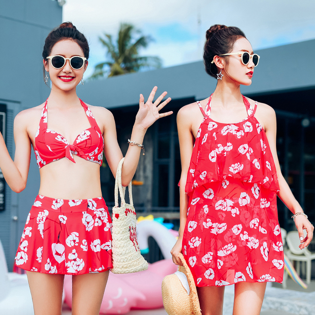 Halter Print Push Up Summer 2018 New Sexy Women Short Skirts Swimwear Three Piece Swimsuit Asian
