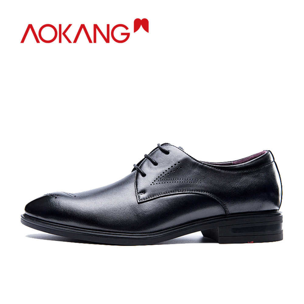 AOKANG  men dress shoes genuine leather men's wedding shoes brand men shoes brogue shoes high quality-in Formal Shoes from Shoes    3