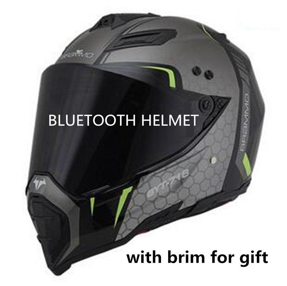 Bluetooth шлем мотоциклетный 2018 DOT BT колонки Мотокросс слушать музыку ссылка apple или android road cross