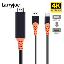 Larryjoe Loại C Sang HDMI Có Màn Hình Điện Thoại Kết Nối TIVI Màn Hình Loại C To HDMI 4K Với nguồn điện Cung Cấp Cho Samsung Galaxy S10 S9