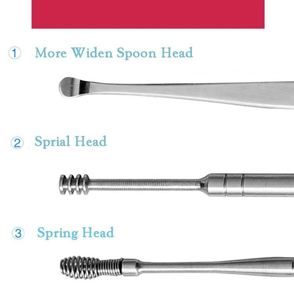 5pcs/set Ear wax pickers stainless steel Spiral ear picks wax removal curette remover cleaner ear care tool kit Earpick 4
