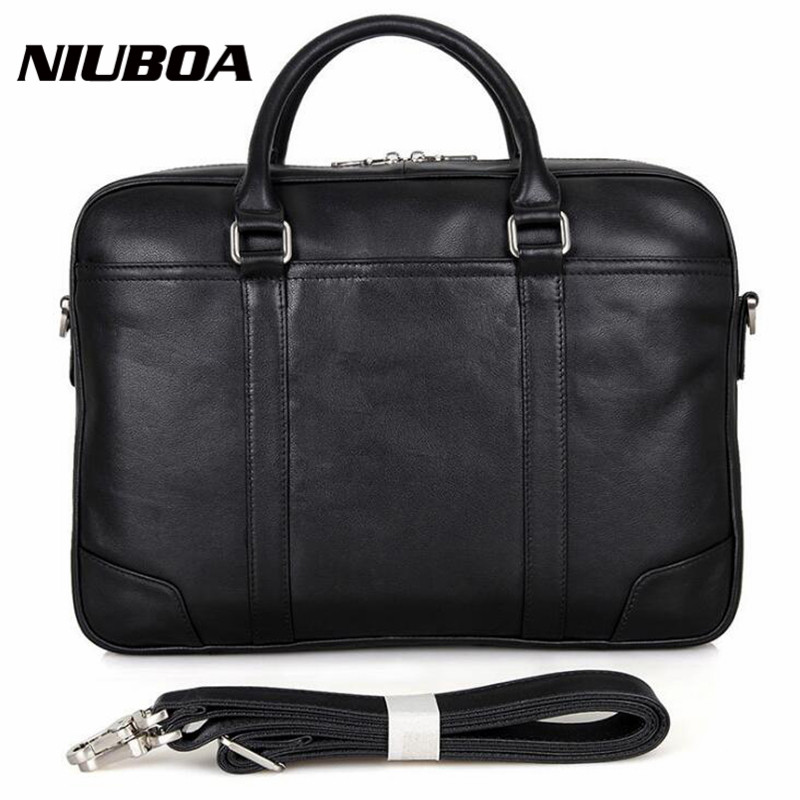 NIUBOA Genuine Leather Men Bags Crossbody Bags Casual High Quality Totes Briefcases Laptop Messenger Bag Skin Shoulder Handbags цена