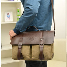 New leather handbags men messenger canvas solid vintage bag for zipper travel bags handbag casual freeshipping