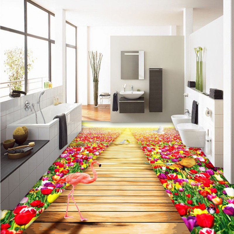 Free shipping Tulip Flower Garden 3D Floor custom anti-skidding thickened bathroom chinese style mural wallpaper flooring free shipping pond carp lotus chinese style 3d flooring thickened non slip bedroom living room bathroom lobby flooring mural