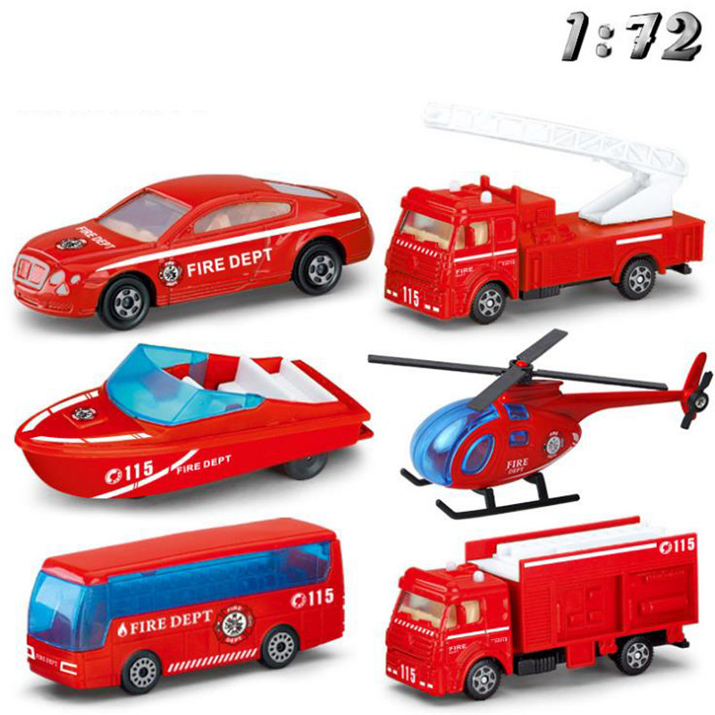 1:72 Firetruck Car FiremanToy Truck  Mini-Ladder Water Spray Water Car Helicopter Model Educational Toys For Boy Kids