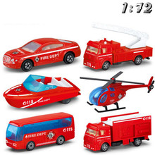 1:72 Firetruck Cars Fireman Taxiing Fire Truck Mini-Ladder Water Spray Water Car Helicopter Model Kids Toys Simulated Alloy Cars children inertia toy car simulator ladder truck firetruck