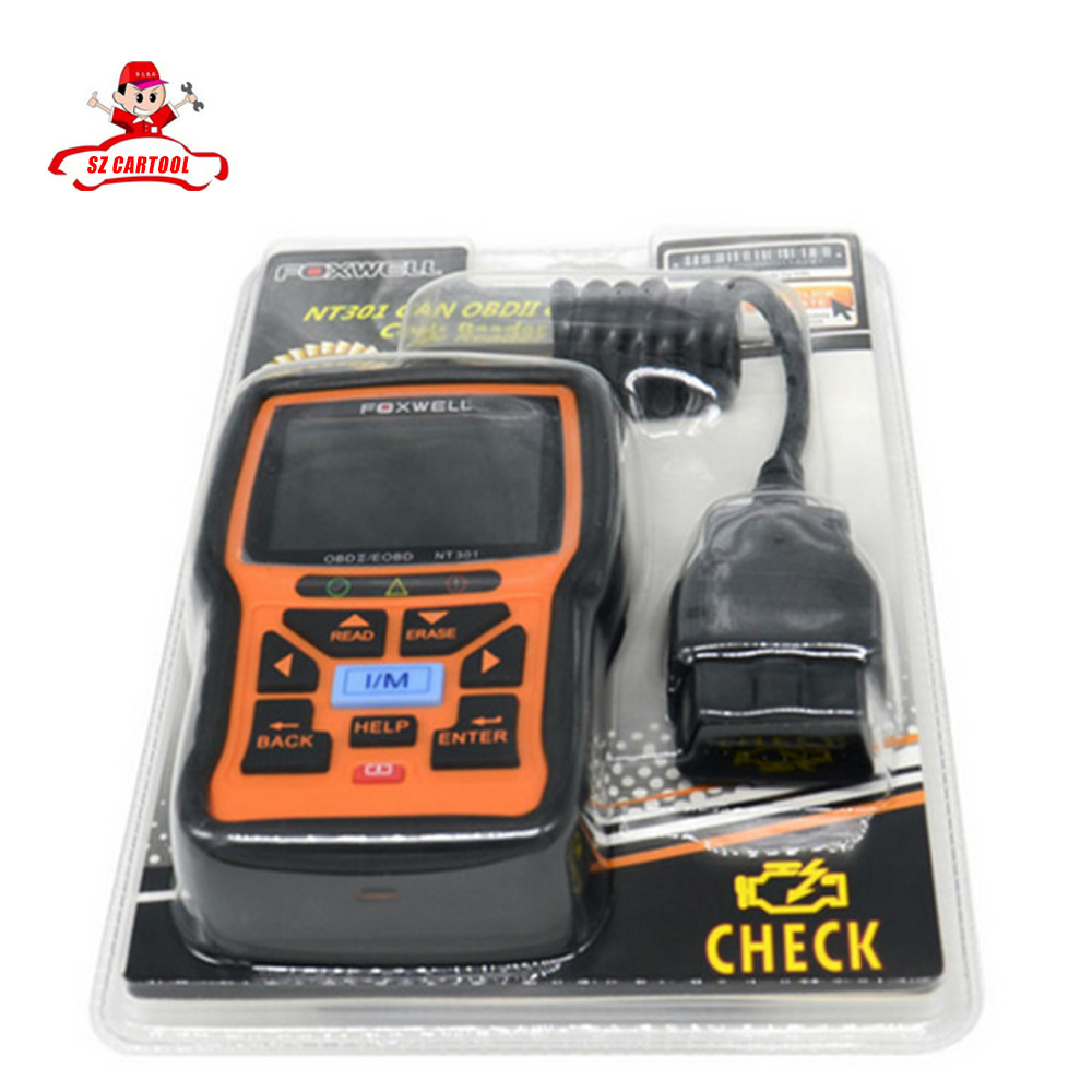 ФОТО Foxwell NT301 Can OBDII EOBD Code Reader Update Online Check Engine Scanner Tool Spanish French Portuguese Languages