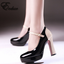 New Spring Autumn Cute buckle strap Shoes Mixed Color Women Pumps Fashion Design Thick high Heels