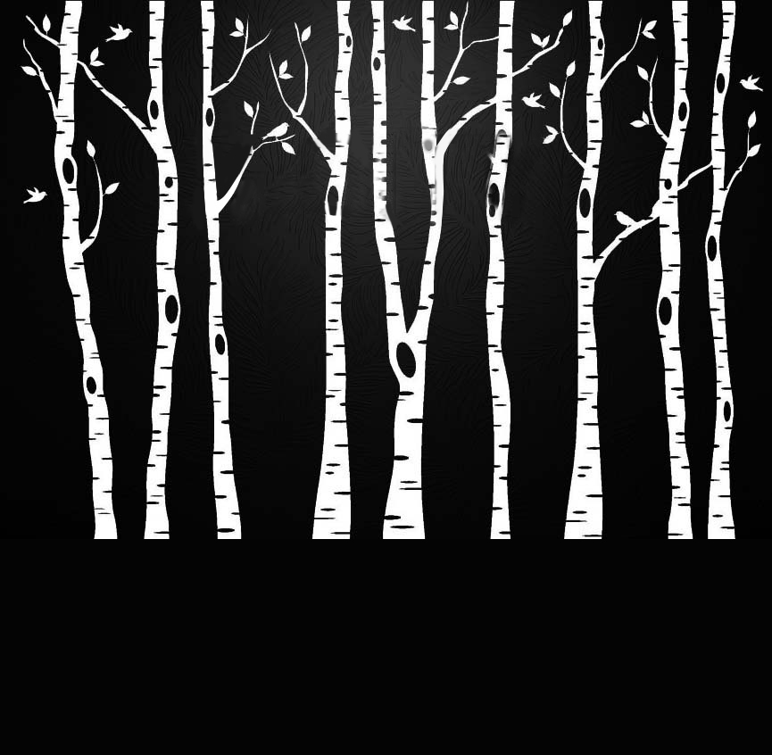 Bouleau Aspen arbres oiseaux forêt mur Art autocollants amovible vinyle Stickers transfert pochoir pépinière graphique Mural décor de la maison