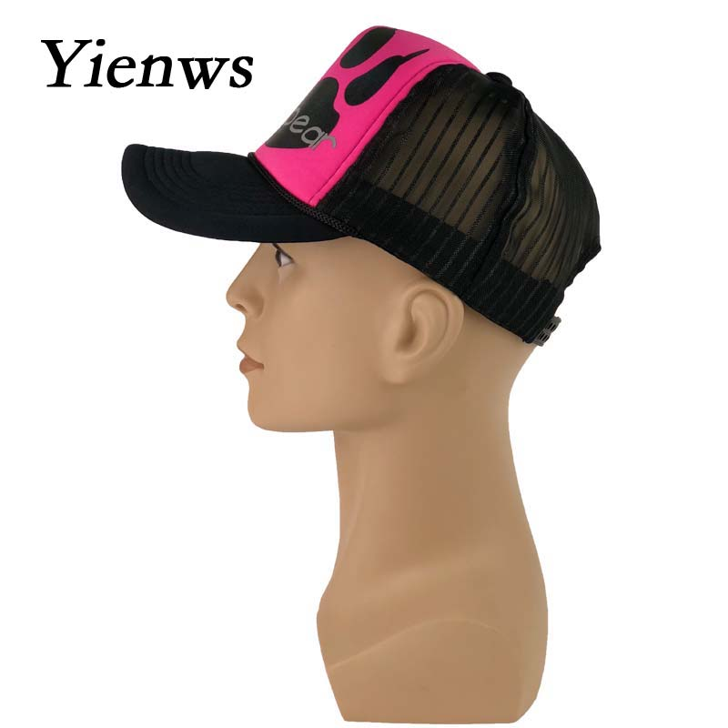 Yienws Summer Mesh Baseball Caps For Women Hello Bear Cartoon Net Bone  Female Trucker Hats Rosy Curved Cap YIC222-in Baseball Caps from Apparel  Accessories ... 1b73e461722f
