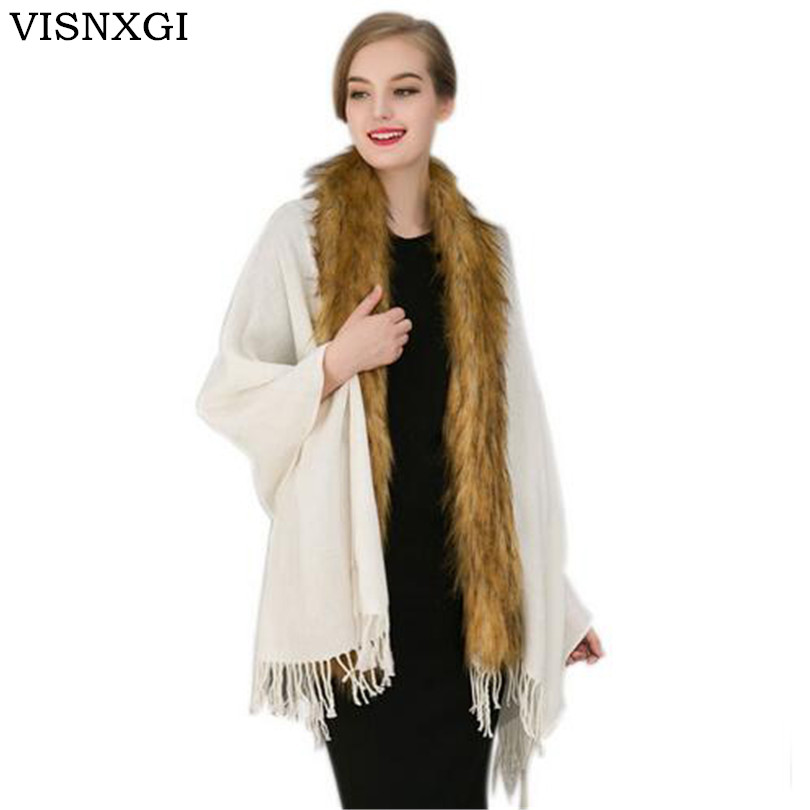 Women Scarf Imitation Fox Fur Knitted Shawl Echarpe Luxury Tassel Scarves Ponchos Sleeve Wool Blanket Cashmere Capes Coats S221