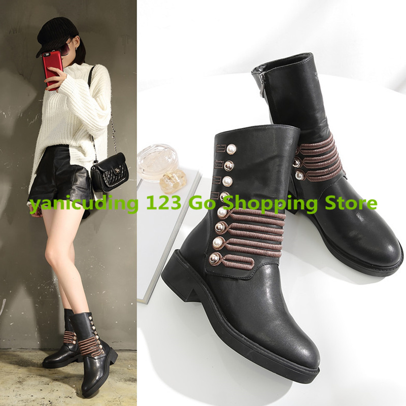 Stylish Women Short Booties Med Heel Round Toe Metal Decor Side Zip Shoes Brand Design Runway Super Star Shoes Chaussures Femme fall low heel black side zip boots ankle metal booties short flat 2017 shoes ladies round toe female fashion new chinese