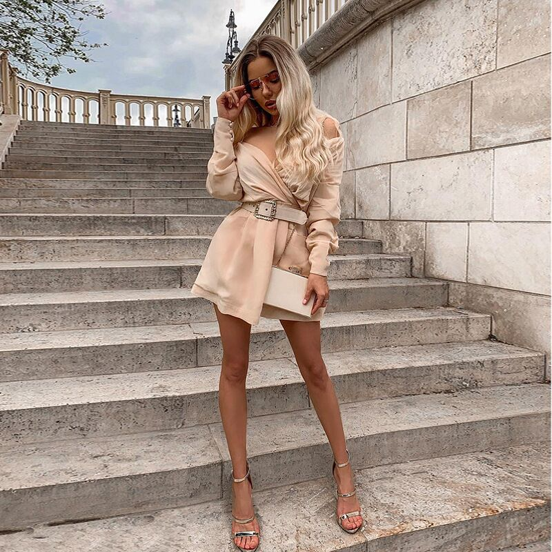 Fashion Belt Sexy Summer Dress 2019 Women White Beige Long Sleeve Off The Shoulder Mini Club Vestidos Party Night Out Dresses