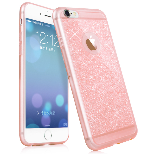 size 40 aeb93 79cf8 US $2.99 |6S pink color phone case For iphone 6 6 plus 6s plus mobile phone  accessories TPU soft shining golden Bling cover For apple on ...