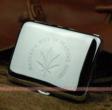1 PCS High quality Metal Cigarette Case Holder Silver (holder 16 cigarettes) cigarette box Mens Gadget with gift - SQ320