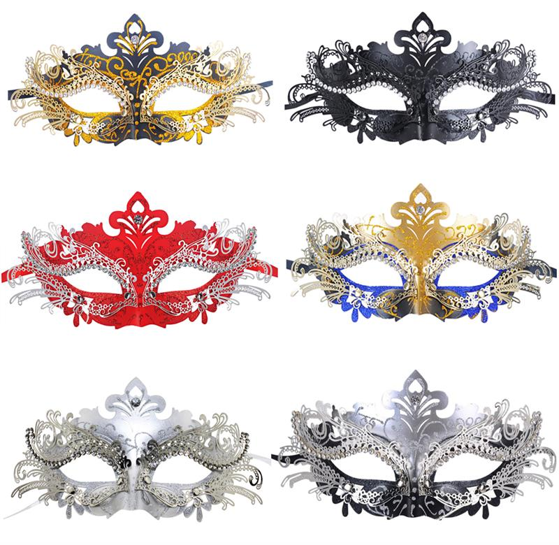 Rhinestones Metal Venetian Filigree Mask Masquerade Gold Mardi Gras Costume Halloween mask Laser Cut Metal Carnival Masks