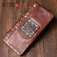 AETOO The original retro art leather long wallet The first layer leather rivet fashion wallet young wave punk style
