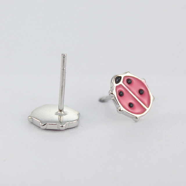 925 Sterling Silver Cute Ladybug Earrings Enamel Pink And Black Animal Stud Earring For S